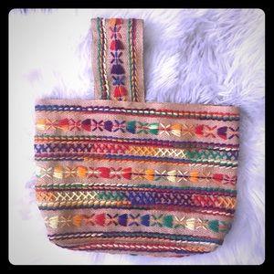 Vintage Hand Sewn Rainbow Mini Handbag 🌈 💼